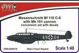 1:48 Bf 110 C-6 with Mk 101 cannon conver. set&decals