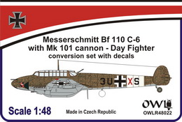 1:48 Bf 110 C-6 with Mk 101 cannon Day fighter conv.&dec.